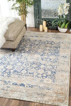 Features:  -Material: 100% Polyester.  -Color: Blue.  -Construction: Machine made.  -The colors in this rug are blue, beige and tan.  Technique: -Machine woven.  Primary Color: -Blue.  Material: -Synt
