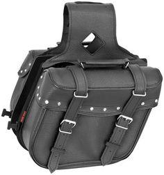 River Road Zip-Off Slant Compact Saddlebags Studded Black