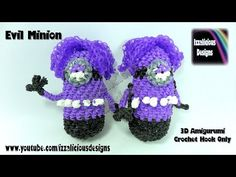 Rainbow Loom - 3D Amigurumi Evil Minion - Crochet Hook Only Loom-less design