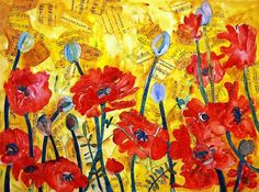 red Poppy art | Fine ART print |  mixed media collage art |  floral print | yellow on Etsy, $24.00