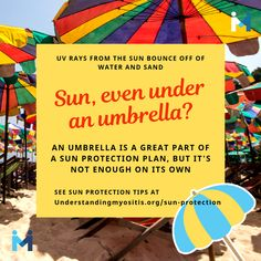 Dermatomyositis patients are often photosensitive. Tips for patients to protect themselves from the sun and its harmful UVA and UVB rays. Use SPF 50 or higher, UV protected clothing, sunglasses, hats. Summer Is Here, Chronic Illness, Sun Protection, Jdm, Health Tips, Advice, How To Plan, Water, Gripe Water