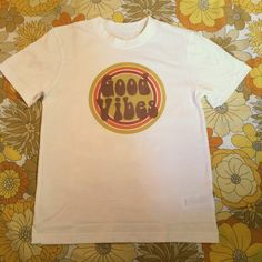 0b6c989b001 Hippie boho vintage retro 60s 70s  White good vibes rainbow tshirt . It is  printed