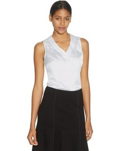 White House | Black MarketSleeveless V-Neck Polka Dot Shell Top