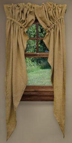Burlap Prairie Curtain - 2/pc