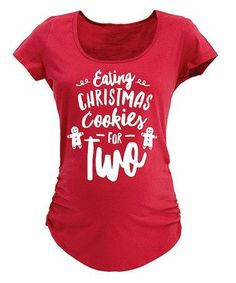 This Red 'Eating Christmas Cookies' Maternity Scoop Neck Tee is perfect! #zulilyfinds