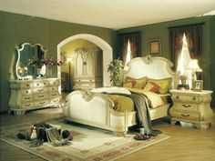Permanent Link to : Country Style Bedrooms Design Ideas with Green Colour