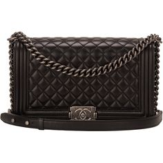 Pre-Owned Chanel Black Lambskin New Medium Boy Bag ($6,950) ❤ liked on Polyvore featuring bags, handbags, black, lambskin leather handbags, chanel, pocket purse, lambskin purse and lamb leather handbags