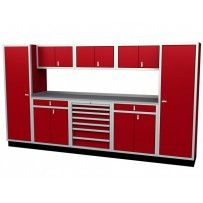 """MODULINE 12' Wide Garage Cabinet Combination  Includes:    Two # 792424TK Closets    Two # SD402432TK Base Cabinets with 4"""" Drawer    One # 402432DUTK-07A-L Tool Chest with lock    Three #181532 Wall Cabinets    96"""" Wide Aluminum Countertop, 24"""" deep    Available in Red, White, Blue, Black or Light Gray"""