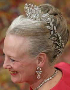Floral Aigrette Tiara worn by HM Queen Margrethe II of Denmark at the wedding of her son, Crown Prince Frederick, along with diamond earrings and necklace belonging to the crown jewels