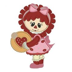 Rag Doll With Hearts and Kisses Applique Machine Embroidery Digitized Design Pattern #valentines #embroidery #applique #doll