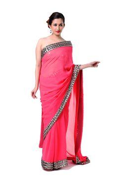 Ranas Woman Pure Chiffon Coral Saree-   Fabric - Pure Chiffon  Work : - Sequence  Weight - 740 Gm