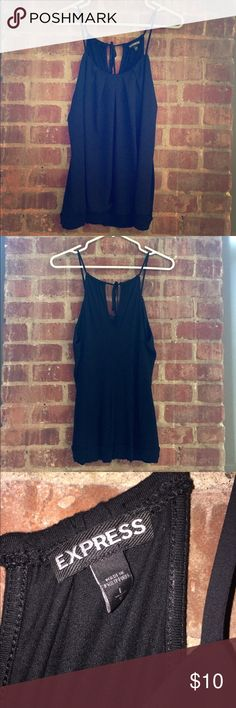 NWOT EXPRESS cotton/sheer camisole Never worn, immaculate condition. Loose fit, tie at neck closure.  Mostly cotton with sheer overlay in front, band at waist.  Easily transferable from season to season. Express Tops Camisoles