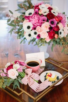 Breakfast tray with sweet little welcome card.
