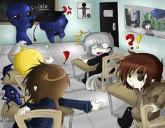 Ao Oni classroom.
