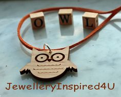 Wooden Owl Face Pendant.  Alder Wood Pendant with Suede Cord. Natural Jewelry.  by JewelleryInspired4U, $25.00 USD