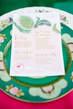Full menu on one sheet with wedding motif - all options would be great, especially for tapas