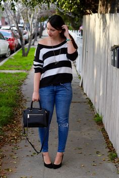 Black and White Striped Off-the-Shoulder Sweater + Ripped Skinny Jeans + Block Heels #outfit #spring