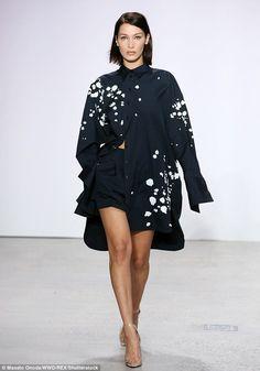 Woke up like this: Bella Hadid got leggy in a pajama-inspired ensemble for Oscar de la Renta's SS/18 presentation during New York Fashion Week on Monday