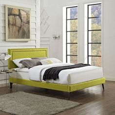 Shop for Jessamine Fabric Platform Bed with Round Splayed Legs in Wheatgrass. Get free shipping at Overstock.com - Your Online Furniture Outlet Store! Get 5% in rewards with Club O! - 19853263