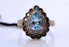This is the one for me!   LeVian Chocolate Diamonds Aquamarine RING 14 KT White Gold