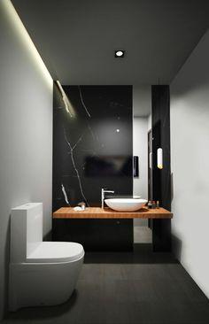 modèle de salle de bain à l'italienne, sol noir mur noir avec luminaire salle de bain