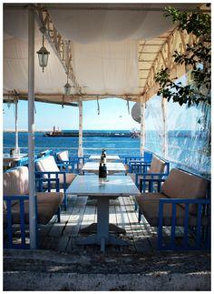 Greek Restaurant Greek Restaurants, Greek Isles, Tis The Season, Places Ive Been, Greece, Patio, Table Decorations, Outdoor Decor, Life