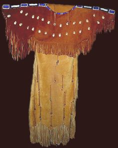 Native American Women Clothing | This two skin Dress features two red trade cloth panels, deer skins ...