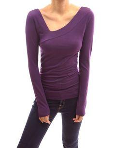 PattyBoutik Cotton Asym Neck Long Sleeve Stretch Blouse Top (Dark Purple S) PattyBoutik http://www.amazon.com/dp/B00FPHY70C/ref=cm_sw_r_pi_dp_eJd6tb0BAJ3A3