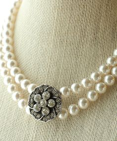 Double StrandSwarovski Pearl and Crystal Necklace Beautiful and stunning double strand of Swarovski whote/ivory pearls complimented with a stunning crystal pendant. This necklace really makes a statement with it's elegance.