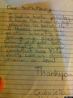 Letters to the Tooth Fairy from the Child!