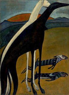 Os galgos - Amadeo de Souza Cardoso hand-painted oil painting reproduction,animals on hills sunrise, Greyhound Kunst, Oil Canvas, Grand Art, Art Database, Animal Paintings, Dog Art, Art Prints For Sale, Photo Art, Modern Art