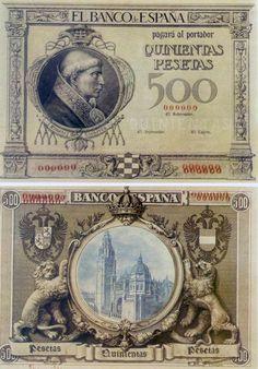 billetes antiguos de España- 500 pesetas de 1925- No fueron aptos para circular, al no estampillarse las firmas del Gobernador, Interventor y Cajero.