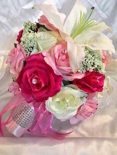 Fuchsia Pink Ivory Lily Silk Rose Wedding Flowers Round Bridal Bouquet Package  | eBay