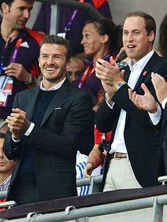 David Beckham and Prince William ~ The handsome Brits were all smiles in dapper suits as they stood up and cheered on their countrys Olympic soccer team at the game against the United Arab Emirates on Sunday, July Eye Candy Yummy Eye Candy Brooklyn Beckham, David Beckham, British Football, Gb Football, Diana, Dapper Suits, Team Gb, All Smiles, Summer Olympics