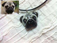 clay necklace gift for lover pendant handpainted by Bloobling, $35.00
