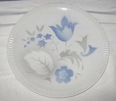 Vintage AIRBRUSHED Small PLATTER Blue Flowers   by LavenderGardenCottage etsy