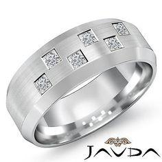 Princess-Bezel-Set-Diamond-Mens-Half-Wedding-Band-8mm-Ring-14k-White-Gold-0-50Ct