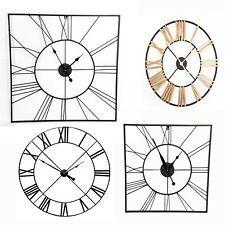 Large Outdoor Garden Wall Clock Big Roman Numerals Black Gold 88cm 60cm Skeleton