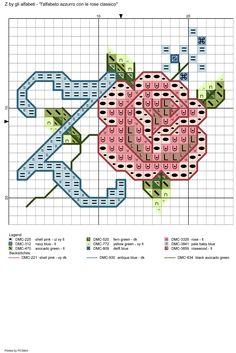 alfabeto azzurro con le rose classico: Z