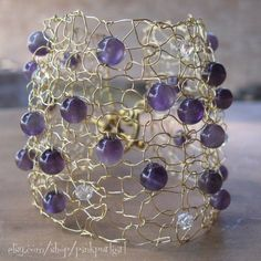 wow -- Knitted Gold Wire Cuff with Amethyst Beads and Swarovski Crystals