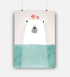 Beautiful illustration art with cute bear in the sea. High quality poster design for wall decoration. Digital art print for instant download by GraphicCorner on Etsy