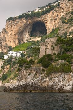 Amalfi coast from the water, province of Salerno, Campania, Italy