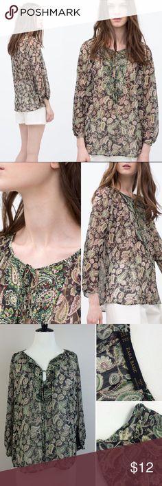 "NWT Zara sheer prairie top NWT black and green sheer prairie top. Long sleeve. Length approximately 24"" Zara Tops Blouses"