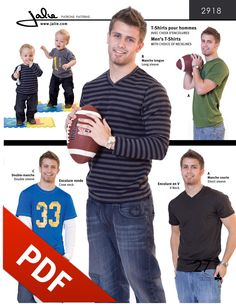 2918 - Men's T-Shirts pattern in PDF format. V-Neck video tutorial available here: https://www.youtube.com/watch?v=Ft9h49p-9TI