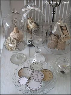 Welcome to Boxwood Cottage: May basket swap & Vintage cushion swap & latest flea market finds Glass Domes, Glass Jars, May Baskets, Cloche Decor, The Bell Jar, Bell Jars, Image Deco, Vintage Cushions, Decoration Originale