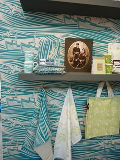 Mini Moderns' 1950s linocut inspired Whitby wallpaper, tableware and tea towel - from Design Milk's top 10 exhibits at TENT London. #LDF11
