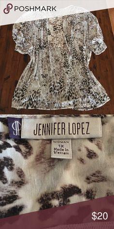 Jennifer Lopez Tunic Cream and brown Jennifer Lopez tunic - like new - fantastic condition! Jennifer Lopez Tops Tunics