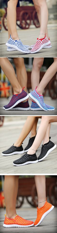 US$18.60 Big Size Mesh Double Color Slip On Flat Casual Light Shoes