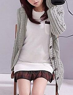 Women's Solid Hooded Long Cardigan,Long Sleeve