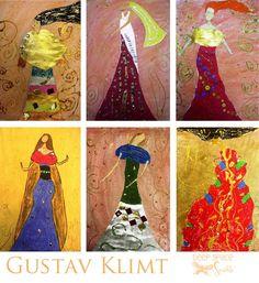 Klimt 6th grade collage pastel metallic art project lesson watercolor paint